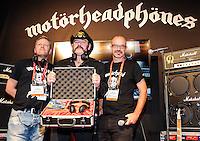 LAS VEGAS, NV - January 8: Ulf Sanders, Lemmy Kilmister, and Nick Lasson unveil Motorheadphones at the Consumer Electronics Show on January 8, 2013 in Las Vegas, Nevada. © Kabik/ Starlitepics / Mediapunch Inc /NortePhoto©