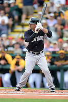 Second baseman Dean Anna (93) of the New York Yankees during a spring training game against the Pittsburgh Pirates on February 26, 2014 at McKechnie Field in Bradenton, Florida.  Pittsburgh defeated New York 6-5.  (Mike Janes/Four Seam Images)