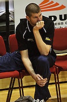 Dynamos import Eric Vierneisel watches from the bench during the NBL Round 9 match between the Wellington Saints and Nelson Giants at TSB Bank Arena, Wellington, New Zealand on Thursday 7 May 2009. Photo: Dave Lintott / lintottphoto.co.nz