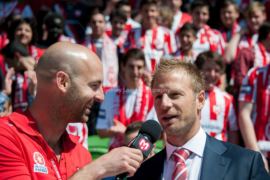 MELBOURNE - OCT 28: Vince Grella being introduced to Heart fans before the round four A-League match between the Melbourne Heart and the Central Coast Mariners at AAMI Park. (Photo Sydney Low/syd-low.com/Melbourne Heart)
