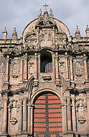 The facade of the cathedral in Cuzco.