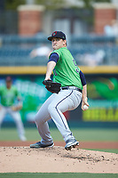 Gwinnett Braves starting pitcher Patrick Weigel (50) in action against the Charlotte Knights at BB&T BallPark on July 14, 2019 in Charlotte, North Carolina.  The Stripers defeated the Knights 5-4. (Brian Westerholt/Four Seam Images)