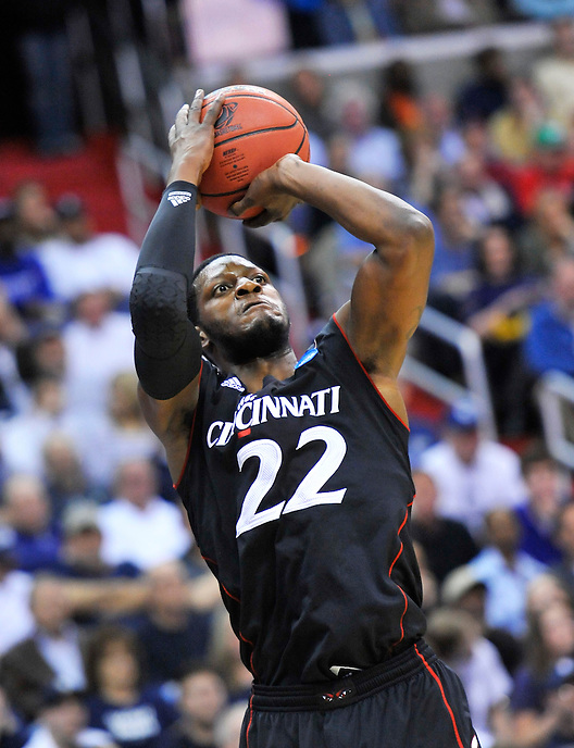 Rashad Bishop of the Bearcats drains a long jumper. UConn defeats Cincinnati 69-58 during the 3rd round of the NCAA Tournament at the Verizon Center in Washington, D.C on Saturday, March 19, 2011. Alan P. Santos/DC Sports Box