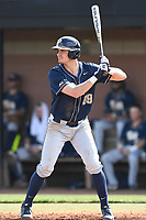 First baseman Nick Banman (29) of the Pittsburgh Panthers bats in a game against the University of South Carolina Upstate Spartans on Saturday, February 24, 2018, at Cleveland S. Harley Park in Spartanburg, South Carolina. Pittsburgh won, 3-1. (Tom Priddy/Four Seam Images)