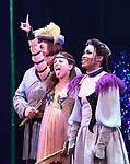 Tom Alan Robbins, Alexandra Socha and Taylor Iman Jones perform during a special curtain call at Broadway's 'Head Over Heels' on July 12, 2018 at the Hudson Theatre in New York City.