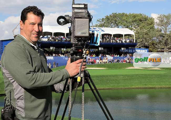 28 JAN 13  Veteran CBS camera operator Rudy Neidermeier at 18 during Monday's Final round of The Farmers Insurance Open at The Torrey Pines Golf Course in La Jolla, California.(photo:  kenneth e.dennis / kendennisphoto.com)
