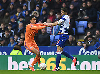 25th January 2020; Madejski Stadium, Reading, Berkshire, England; English FA Cup Football, Reading versus Cardiff City; Matt Miazga of Reading competes for the ball with Robert Glatzel of Cardiff City