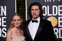 Joanne Tucker and Golden Globe nominee Adam Driver attend the 76th Annual Golden Globe Awards at the Beverly Hilton in Beverly Hills, CA on Sunday, January 6, 2019.<br /> *Editorial Use Only*<br /> CAP/PLF/HFPA<br /> Image supplied by Capital Pictures