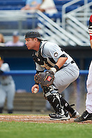 West Virginia Black Bears catcher Arden Pabst (52) during a game against the Batavia Muckdogs on June 28, 2016 at Dwyer Stadium in Batavia, New York.  Batavia defeated West Virginia 3-1.  (Mike Janes/Four Seam Images)