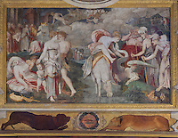 Lost Youth, showing a woman symbolising eternal youth on a donkey with a dragon, fresco by Rosso Fiorentino, 1535-37, in the Galerie Francois I, begun 1528, the first great gallery in France and the origination of the Renaissance style in France, Chateau de Fontainebleau, France. The Palace of Fontainebleau is one of the largest French royal palaces and was begun in the early 16th century for Francois I. It was listed as a UNESCO World Heritage Site in 1981. Picture by Manuel Cohen