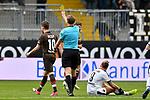 16.03.2019, BWT-Stadion am Hardtwald, Sandhausen, GER, 2. FBL, SV Sandhausen vs FC St. Pauli, <br /> <br /> DFL REGULATIONS PROHIBIT ANY USE OF PHOTOGRAPHS AS IMAGE SEQUENCES AND/OR QUASI-VIDEO.<br /> <br /> im Bild: Gelbe Karte von Schiedsrichter Sven Waschitzki fuer Christopher Buchtmann (#10, FC St. Pauli)<br /> <br /> Foto &copy; nordphoto / Fabisch