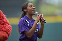 "Winston-Salem Dash ""Dash Pack"" member Brooke Thomas gets the crowd going during player introductions prior to the game against the Buies Creek Astros at BB&T Ballpark on May 5, 2018 in Winston-Salem, North Carolina. The Dash defeated the Astros 6-2. (Brian Westerholt/Four Seam Images)"