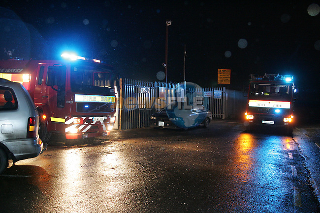 Fire crews from Drogheda and Ashbourne tackled a fire in the scrap yard on the Duleek to Kilmmon road, three appliances attended the scene..Photo: Newsfile/Fran Caffrey.