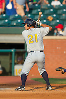 Luke Maile (21) of the Montgomery Biscuits at bat against the Chattanooga Lookouts at AT&T Field on July 24, 2014 in Chattanooga, Tennessee.  The Biscuits defeated the Lookouts 6-4. (Brian Westerholt/Four Seam Images)