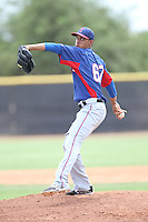 Jonathan Hernandez (67) of the AZL Rangers pitches during a game against the AZL Padres at the San Diego Padres Spring Training Complex on July 4, 2015 in Peoria, Arizona. Padres defeated the Rangers, 9-2. (Larry Goren/Four Seam Images)