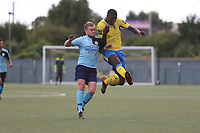Regan Fakley-Wern of Stanway of Stanway and Joel Nouble of Haringey during Haringey Borough vs Stanway Rovers, Emirates FA Cup Football at Coles Park Stadium on 25th August 2018