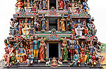 Painted figures on the entrance gopuram tower, Sri Mariamman Temple, South Bridge Road, Chinatown, Singapore