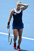 9th January 2018, Sydney Olympic Park Tennis Centre, Sydney, Australia; Sydney International Tennis, round 1; Dominika Cibulkova (SVK)  in her match against Elena Vesnina (RUS)