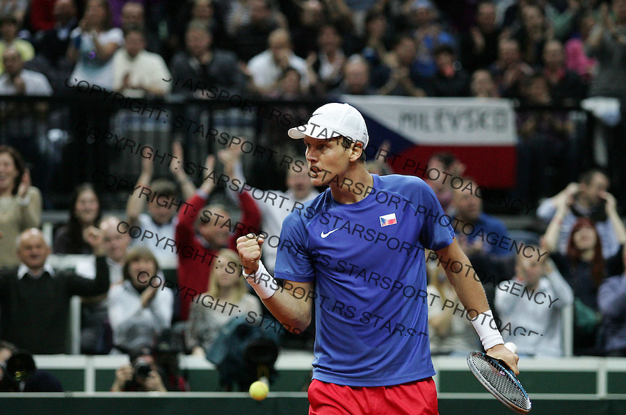 Davis Cup.Czech Republic Vs. Serbia.Janko Tipsarevic Vs. Tomas Berdych.Tomas Berdych reacts.Prague, 08.04.2012..foto: Srdjan Stevanovic/Starsportphoto ©