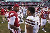 NWA Democrat-Gazette/BEN GOFF @NWABENGOFF<br /> K.J. Jefferson (left), Arkansas quarterback, greets Marcus Murphy, Mississippi State free safety, after the game Saturday, Nov. 2, 2019, at Reynolds Razorback Stadium in Fayetteville.