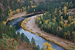 Idaho, North, Kinston, Coeur d'Alene National Forest. The North Fork of the Coeur d'Alene River with reflections and autumn color.