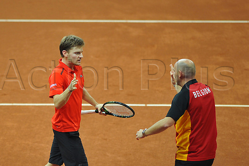 27.11.2015. Belgium. Davis Cup Final, Great Britain versus Belgium. Day 1 play.  David Goffin (Bel) defeats Kyle Edmund 3-6 1-6 6-2 6-1 6-0 to make the tie 1-0 to Belgium
