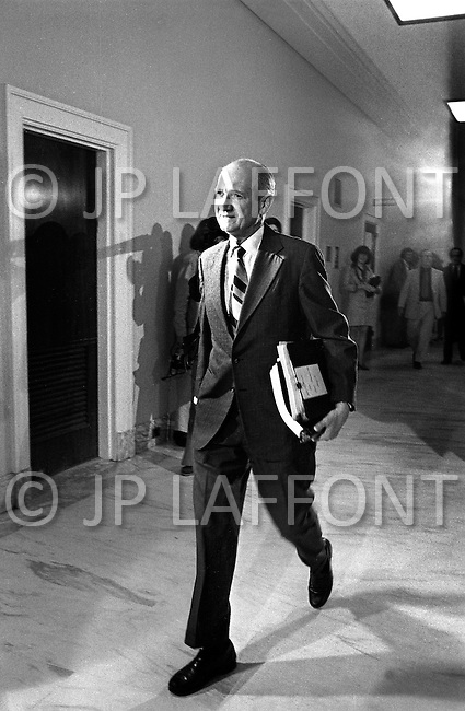 Washinton DC, 1973. Committee Member attending the Watergate Hearings. A break in at the Democratic National Committee headquarters at the Watergate complex on June 17, 1972 results in one of the biggest political scandals the US government has ever seen.  Effects of the scandal ultimately led to the resignation of  President Richard Nixon, on August 9, 1974, the first and only resignation of any U.S. President.
