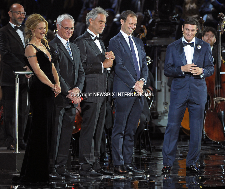 25.05.2016; Milano, Italy: UNZIKER, RANIERI, BOCELLI, ALLEGRI AND ZANETTI<br /> at the &quot;Bocelli &amp; Zanetti Night&quot; event.<br /> Mandatory Credit Photo: &copy;NEWSPIX INTERNATIONAL<br /> <br /> PHOTO CREDIT MANDATORY!!: NEWSPIX INTERNATIONAL(Failure to credit will incur a surcharge of 100% of reproduction fees)<br /> <br /> IMMEDIATE CONFIRMATION OF USAGE REQUIRED:<br /> Newspix International, 31 Chinnery Hill, Bishop's Stortford, ENGLAND CM23 3PS<br /> Tel:+441279 324672  ; Fax: +441279656877<br /> Mobile:  0777568 1153<br /> e-mail: info@newspixinternational.co.uk<br /> Please refer to usage terms. All Fees Payable To Newspix International