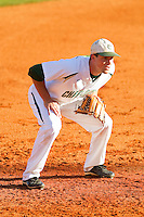 Charlotte 49ers third baseman Shane Basen (8) on defense against the Delaware State Hornets at Robert and Mariam Hayes Stadium on February 15, 2013 in Charlotte, North Carolina.  The 49ers defeated the Hornets 13-7.  (Brian Westerholt/Four Seam Images)