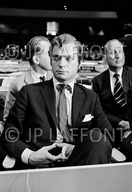 October 1970 --- Duke Carl Gustav of Sweden at the General Assembly of the United Nations in New York in 1970. Gustave became Carl XVI Gustf the King of Sweden in 1973. --- Image by © JP Laffont