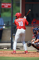 Philadelphia Phillies third baseman D.J. Stewart (10) at bat during an Instructional League game against the Atlanta Braves on October 9, 2017 at the Carpenter Complex in Clearwater, Florida.  (Mike Janes/Four Seam Images)