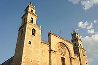 The 16th century cathedral or Catedral de Ildefonso on Plaza Grande in Merida, Yucatan, Mexico