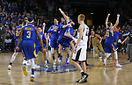 SIOUX FALLS, SD: MARCH 7: The South Dakota State Jackrabbits storm the court following their 79-77 win over Omaha in the Men's Summit League Basketball Championship Game on March 7, 2017 at the Denny Sanford Premier Center in Sioux Falls, SD. (Photo by Dave Eggen/Inertia)