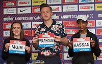 Laura Muir (Great Britain) – 1500m - European champion and multi-British record holder, Karsten Warholm (Norway) – 400m hurdles - World champion & European record  holderand Sifan Hassan (Netherlands) – 5000m – World mile record holder & multi-world medallist  during the Muller Anniversary Games 2019 pre-event media day at the Leonardo Royal Hotel, Prescod Street, England on 19 July 2019. Photo by Alan  Stanford.