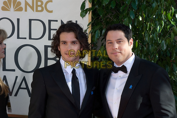 "SANTIAGO CABRERA & GREG GRUNBERG.Red Carpet Arrivals - 64th Annual Golden Globe Awards, Beverly Hills HIlton, Beverly Hills, California, USA..January 15th 2007.globes headshot portrait bow tie tuxedo suit jacket black.CAP/AW.Please use accompanying story.Supplied by Capital Pictures.© HFPA"" and ""64th Golden Globe Awards"""