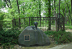 The bust of Frank Lloyd Wright in front of the Austin Garden gate in Oak Park Chicago