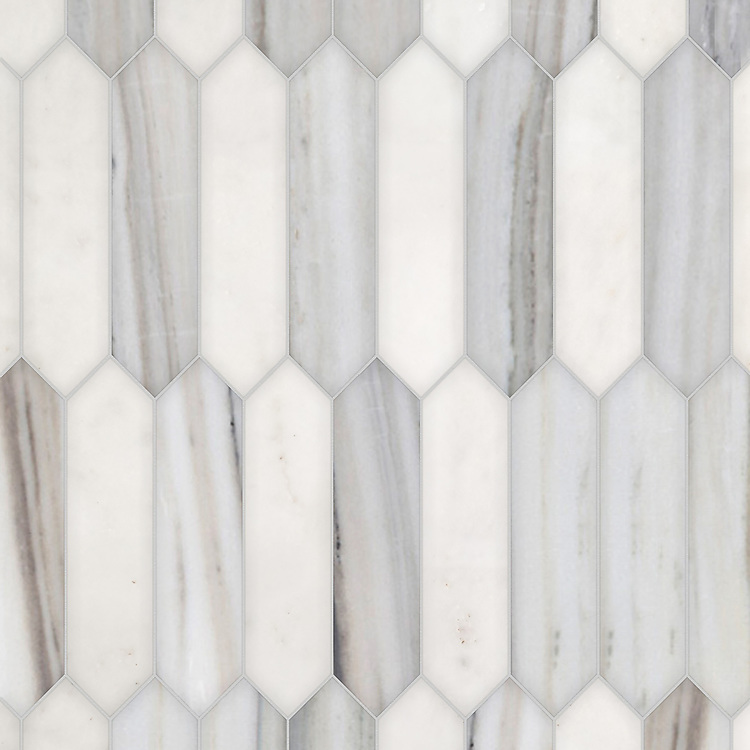Picket, a hand-cut stone mosaic, shown in honed Afyon White and Horizon, is part of the Semplice® collection for New Ravenna.