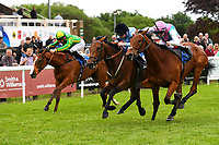 Winner of The Smith & Williamson Maiden Fillies' Stakes (Div 2),Mam'selle black cap ridden by Robert Winston and trained by William Haggas during Afternoon Racing at Salisbury Racecourse on 18th May 2017