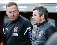 Fleetwood Town manager Joey Barton  looks on from the dugout before kick off<br /> <br /> Photographer David Shipman/CameraSport<br /> <br /> The EFL Sky Bet League One - Bradford City v Fleetwood Town - Saturday 9th February 2019 - Valley Parade - Bradford<br /> <br /> World Copyright &copy; 2019 CameraSport. All rights reserved. 43 Linden Ave. Countesthorpe. Leicester. England. LE8 5PG - Tel: +44 (0) 116 277 4147 - admin@camerasport.com - www.camerasport.com