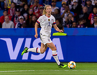 LE HAVRE,  - JUNE 20: Sam Mewis #3 dribbles upfield during a game between Sweden and USWNT at Stade Oceane on June 20, 2019 in Le Havre, France.