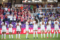 Orlando, FL - Friday December 01, 2017: Madison Haley, Kiki Pickett, Catarina Macario, Andi Sullivan, Alana Cook, Kyra Carusa, Jordan DiBiasi, Tierna Davidson during the NCAA Semi-Final match between the Stanford Cardinal and the South Carolina Gamecocks at Orlando City Stadium.