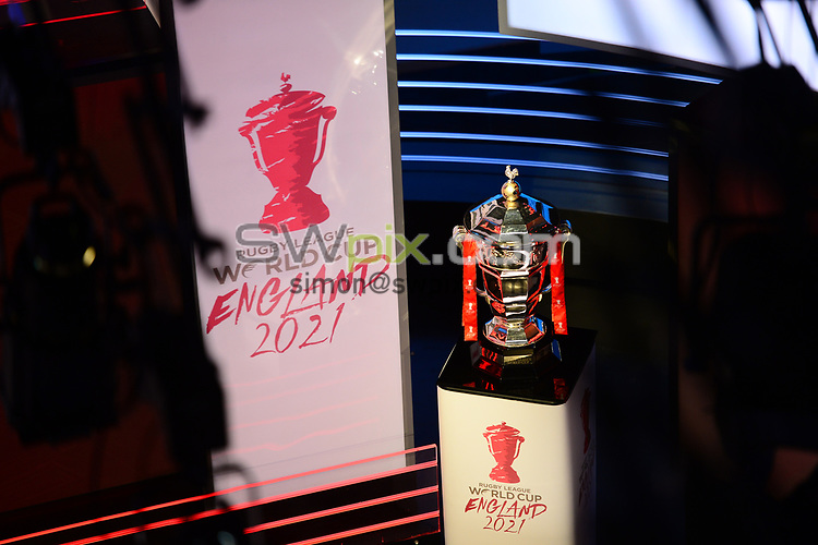 Picture by Simon Wilkinson/SWpix.com - 28/01/2019 - RLWC 2021 Rugby League World Cup Host City Reveal BBC Match of the Day Studio - Dock 10 Media City Salford<br /> - Kevin Sinfield, Jon Dutton , James Simpson Jodie Cunningham