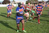 Sefulu Punatai makes an attacking run upfield. Counties Manukau Premier Club Rugby game between Waiuku and Ardmore Marist, played at Waiuku on Saturday June 4th 2016. Ardmore Marist won 46 - 3 after leading 39 - 3 at Halftime. Photo by Richard Spranger.