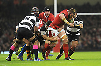 Wales Jake Ball barges through the Barbarians defence<br /> <br /> Photographer Ian Cook/CameraSport<br /> <br /> 2019 Autumn Internationals - Wales v Barbarians - Saturday 30th November 2019 - Principality Stadium - Cardifff<br /> <br /> World Copyright © 2019 CameraSport. All rights reserved. 43 Linden Ave. Countesthorpe. Leicester. England. LE8 5PG - Tel: +44 (0) 116 277 4147 - admin@camerasport.com - www.camerasport.com