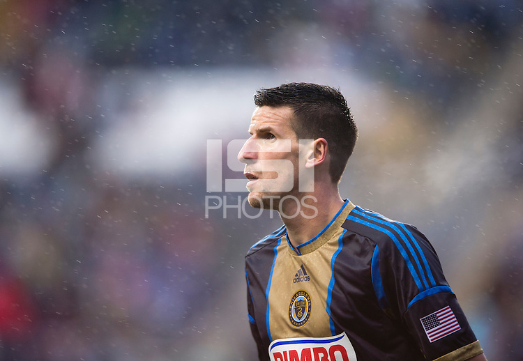 Sebastien Le Toux (11) of the Philadelphia Union looks for the ball during a rainy game at PPL Park in Chester, PA.  The Philadelphia Union defeated the New England Revolution, 1-0.