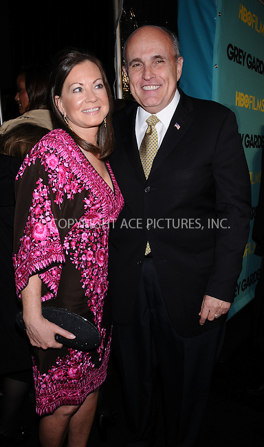 WWW.ACEPIXS.COM . . . . . ....April 14 2009, New York City....Former New York City mayor Rudy Giuliani and Judith Nathan at the HBO Films premiere of 'Grey Gardens' at The Ziegfeld Theater on April 14, 2009 in New York City.....Please byline: AJ SOKALNER - ACEPIXS.COM.. . . . . . ..Ace Pictures, Inc:  ..tel: (212) 243 8787 or (646) 769 0430..e-mail: info@acepixs.com..web: http://www.acepixs.com