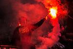 ***BETALBILD***  <br /> Stockholm 2015-09-27 Fotboll Allsvenskan Hammarby IF - AIK :  <br /> Hammarbysupporter med en bengal under matchen mellan Hammarby IF och AIK <br /> (Foto: Kenta J&ouml;nsson) Nyckelord:  Fotboll Allsvenskan Tele2 Arena Hammarby HIF Bajen AIK Derby supporter fans publik supporters bengal benglaer Ultras