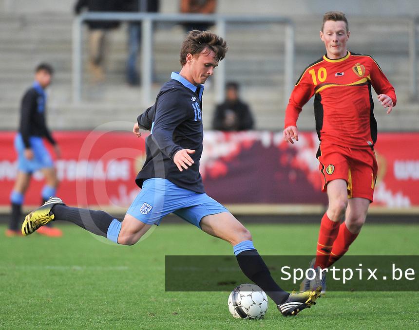 Belgium U19 - England U19 : John Swift (18) and Rob Schoofs (10).foto DAVID CATRY / Nikonpro.be