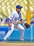 24 July 2011: Los Angeles Dodgers infielder Jamey Carroll in action against the Washington Nationals at Dodger Stadium in Los Angeles, California. The Dodgers defeated the Nationals 3-1 to take the rubber match of their three game series. Mandatory Credit: Ed Wolfstein Photo