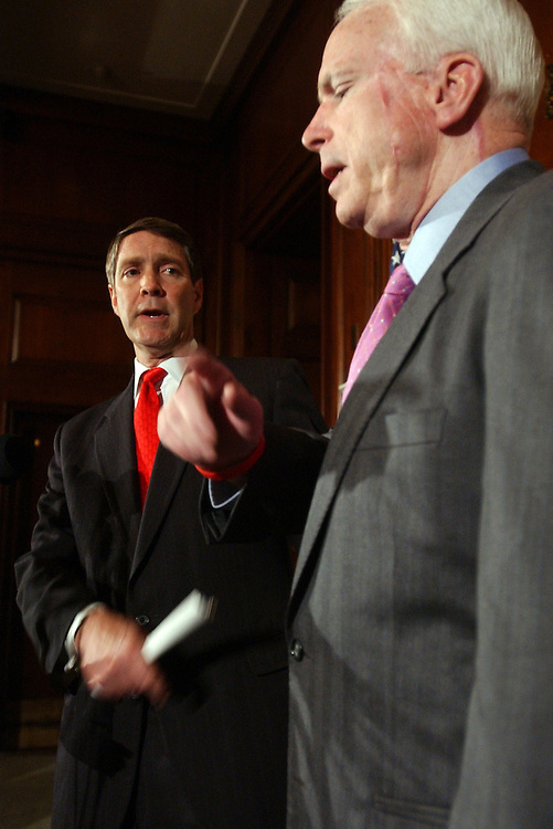 Senate Majority Leader Bill Frist, R-Tenn., and Sen. John McCain, R-Ariz., appear at a news conference to discuss the John Bolton nomination to the post of United Nations ambassador.